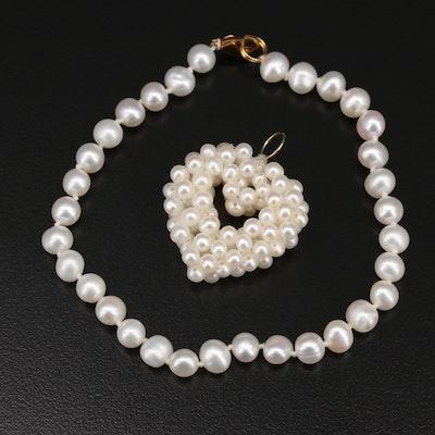 14K Pearl Heart Cluster Pendant and Pearl Bracelet