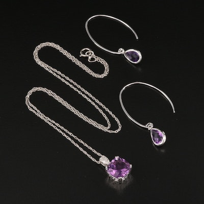 Sterling Amethyst and Diamond Pendant Necklace with Amethyst Drop Earrings