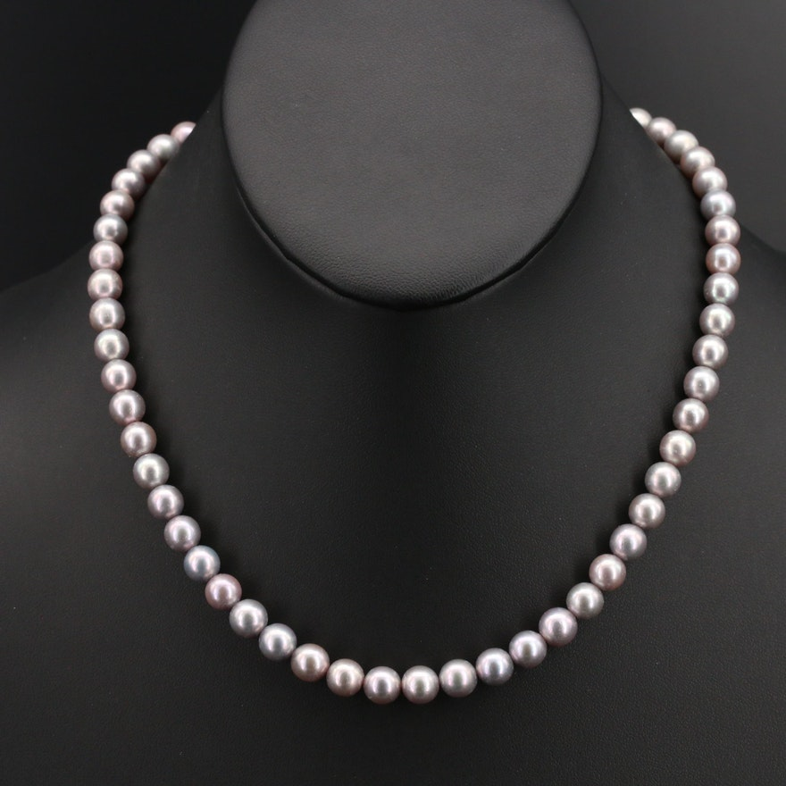 Akoya Pearl Necklace with Openwork Clasp