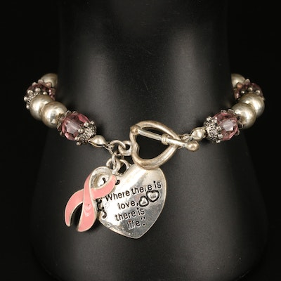 Breast Cancer Awareness Bracelet with Glass and Enamel