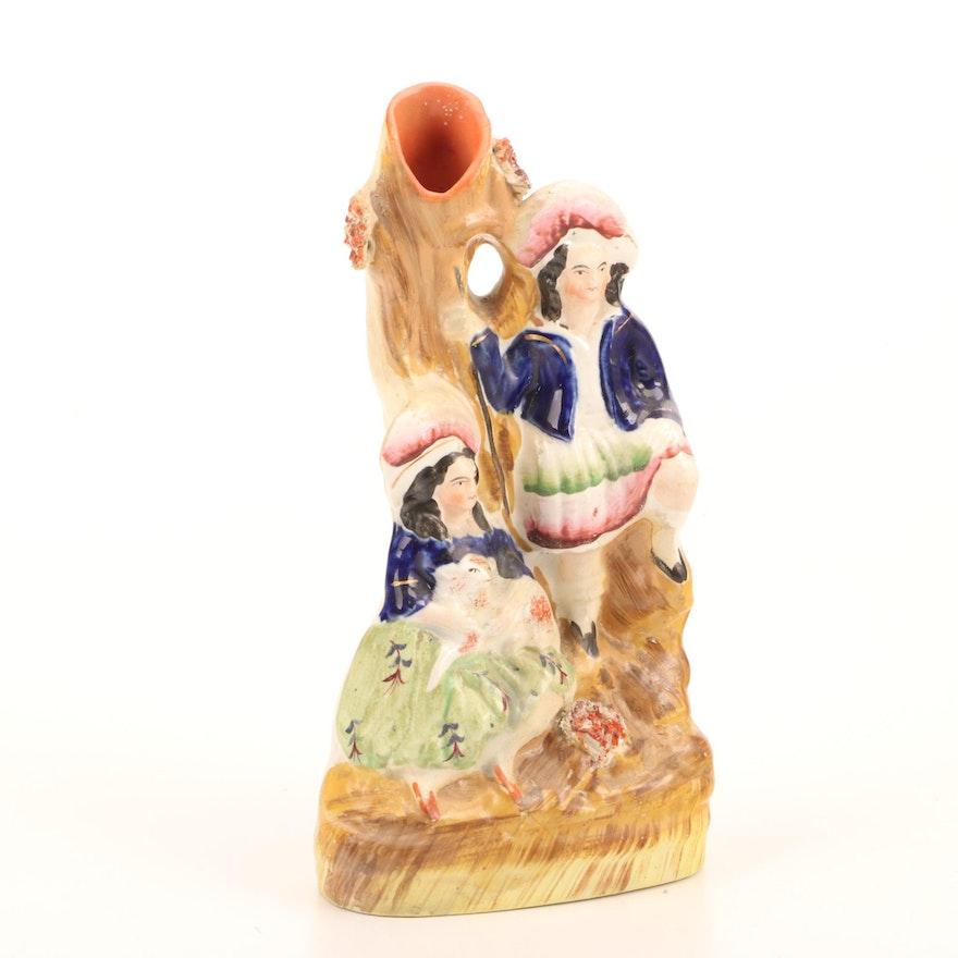 "Staffordshire Pottery ""Rob Roy"" Spill Vase, Mid-19th Century"