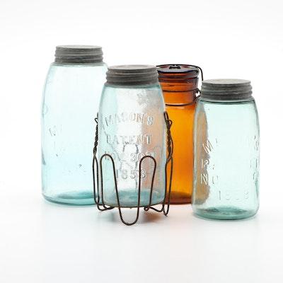 Light Blue Mason Jars and Amber Glass Sealing Jar, Antique