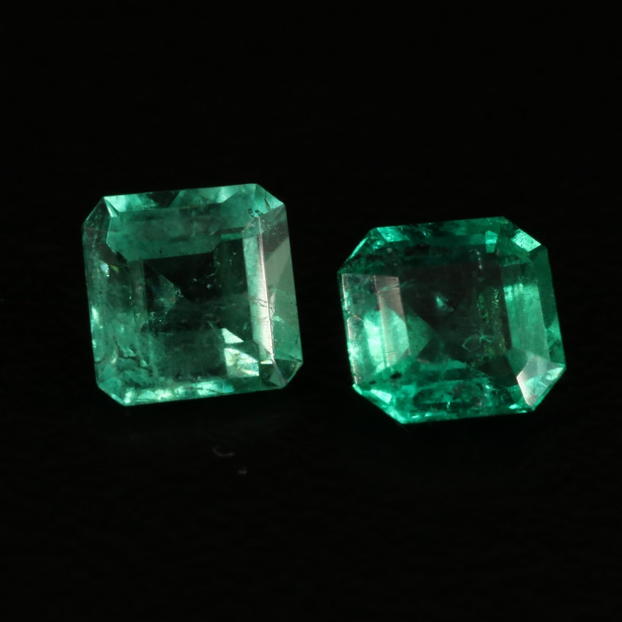 Matched Pair of Loose 1.05 CTW Square Faceted Emeralds