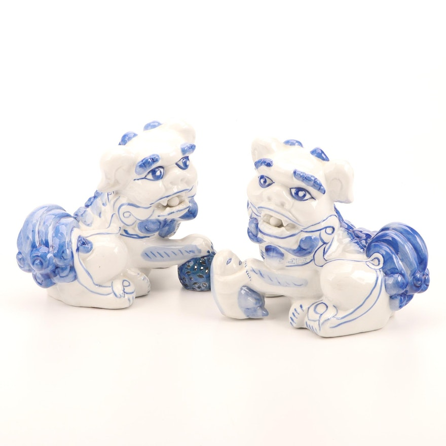 Chinese Hand-Painted Blue and White Ceramic Guardian Lion Figures