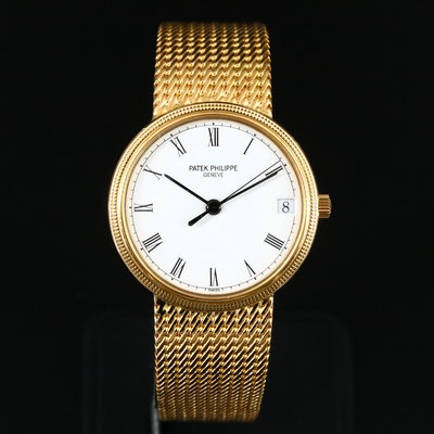 "18K Patek Philippe Calatrava ""Hobnail"" Wristwatch"