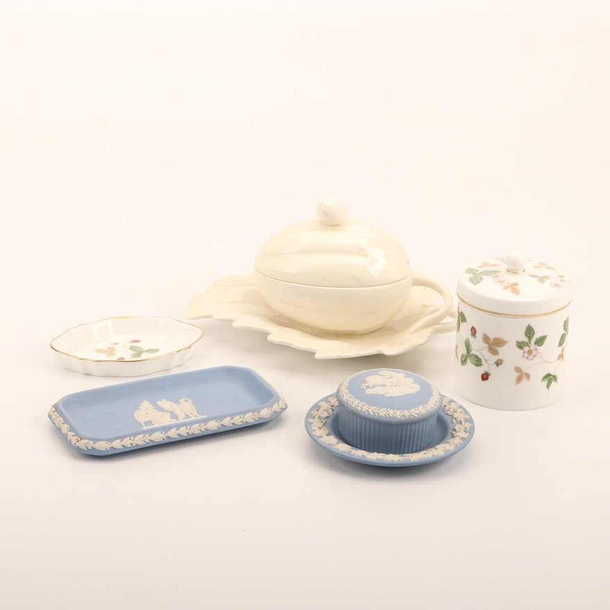 """Wedgwood """"Wild Strawberry"""" Jar and Dish with Other Tableware,  Late 20th Century"""