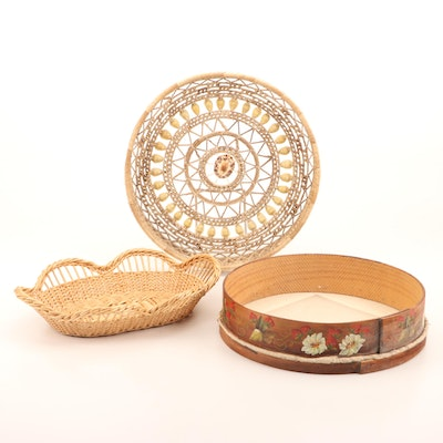 Wicker Baskets and Paint-Decorated Wood-Rimmed Sifter