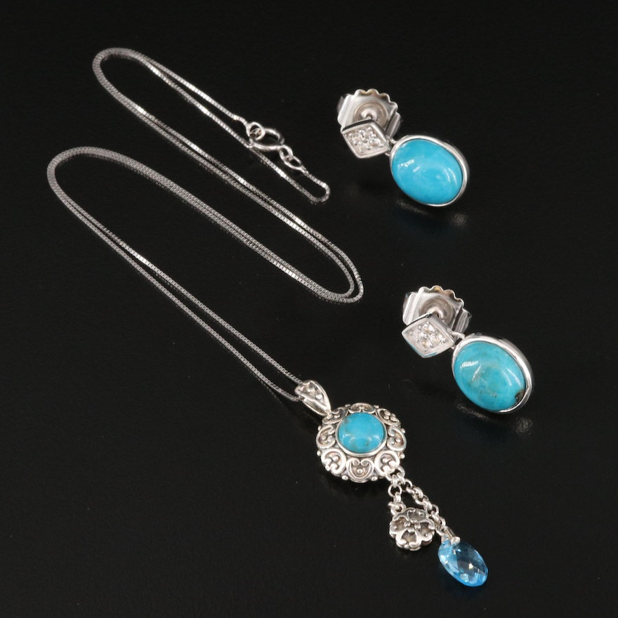 Sterling Silver Pendant Necklace and Drop Earrings Featuring Turquoise and Topaz