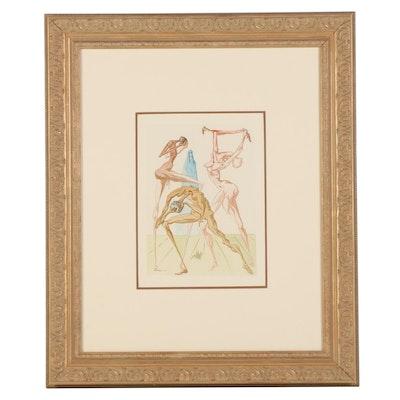 """Salvador Dalí Wood Engraving """"Les simoniaques"""""""