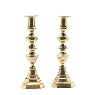 English Victorian Brass Beehive Push-Up Candlesticks, Late 19th Century