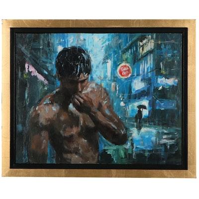 """Adam Deda Oil Painting """"Rain in the City,"""" 2021"""