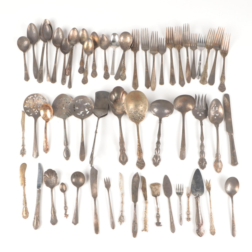Silver Plate Flatware and Serving Pieces, 20th Century