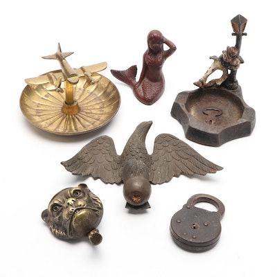 Brass Airplane Ashtray, Brass Dog Face, Eagle, Iron Mermaid and More