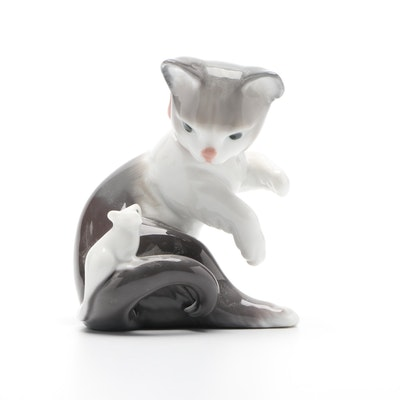 "Lladró Porcelain ""Cat and Mouse"" Figurine"