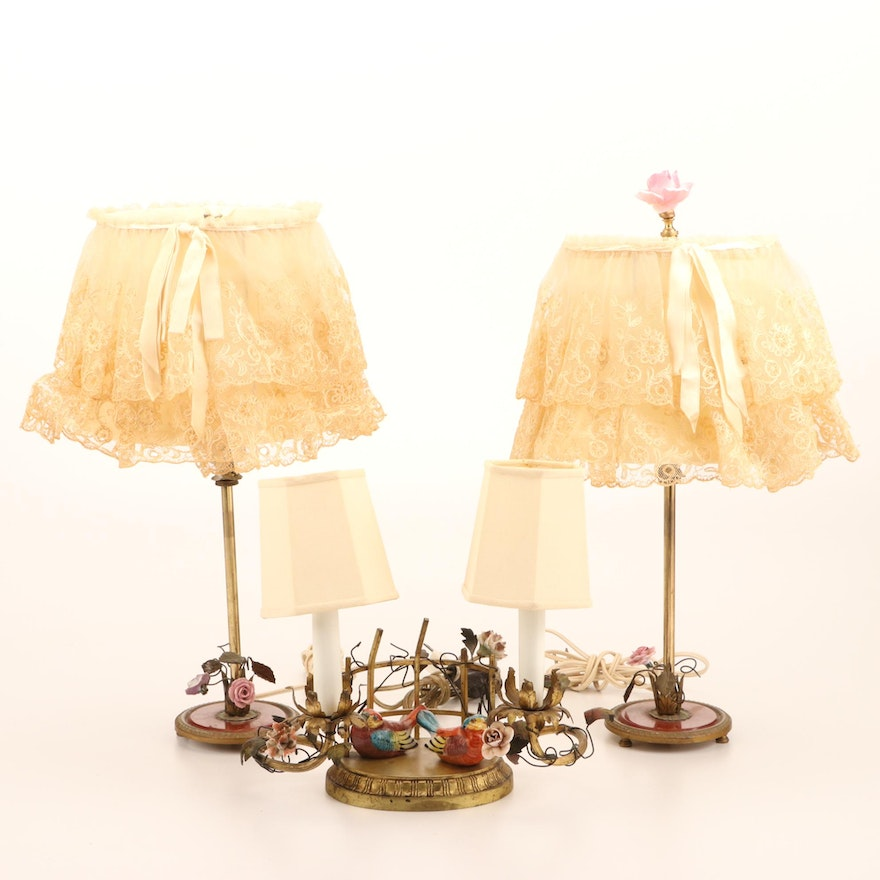 Italian Brass and Ceramic Decorative Lamp and Boudoir Lamps with Lacy Shades