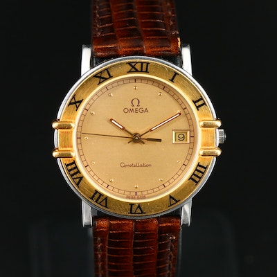 1989 Omega Constellation 18K Gold and Stainless Steel Quartz Wristwatch
