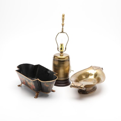 Mottahedeh and Bergdorf Goodman Italian Toleware Dishes and Brass Lamp