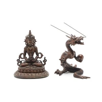 Sino-Tibetan Style Bronze of Tara and Japanese Bronze Dragon