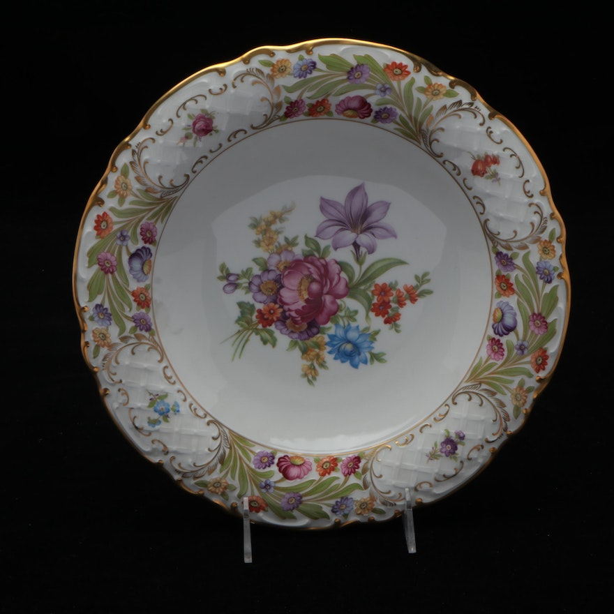 """Schumann """"Empress Dresden Flowers"""" Porcelain Bowl, Mid to Late 20th Century"""