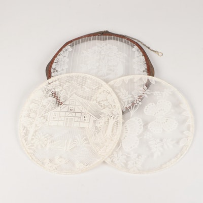 Framed Lace Wall Hangings with Other Round Lace Panels, Mid to Late 20th Century