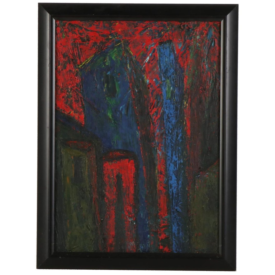 Abstract Expressionist Cityscape Oil Painting, Late 20th to 21st Century