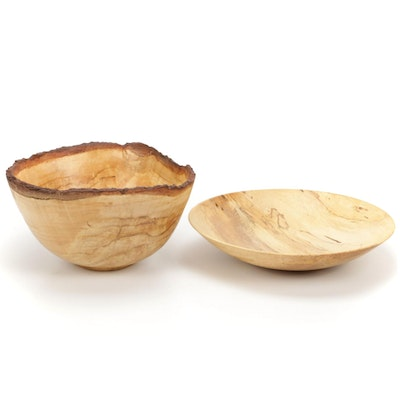 Jim Eliopulos Turned Maple Bowl with Live-Edge Spalted Maple Wood Bowl