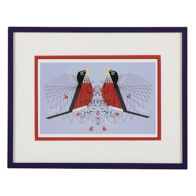 """Offset Lithograph After Charley Harper """"Round Robin,"""" Late 20th to 21st Century"""