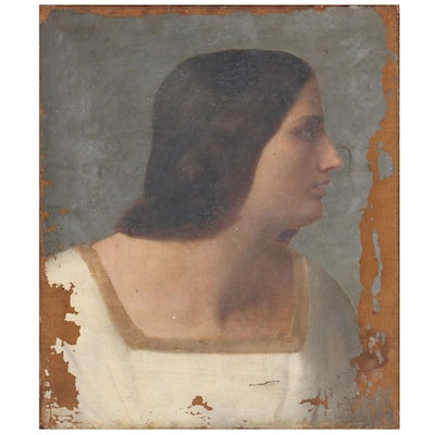 Portrait Oil Painting of Young Woman, Circa 1838