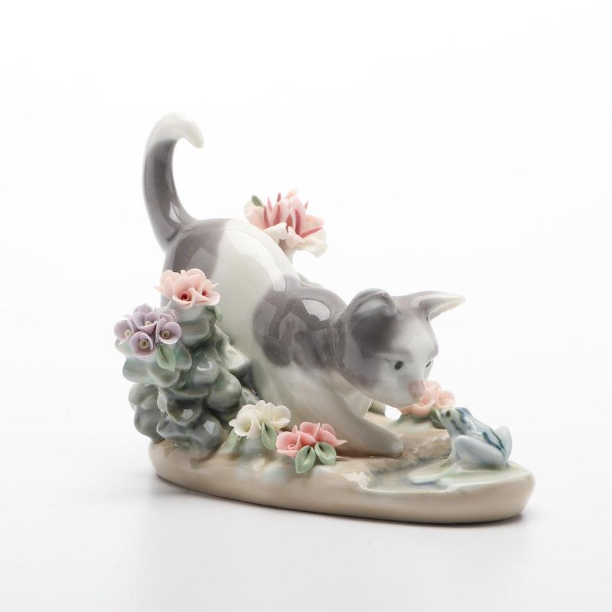 """Lladró """"Cat and Frog"""" Porcelain Figurine"""