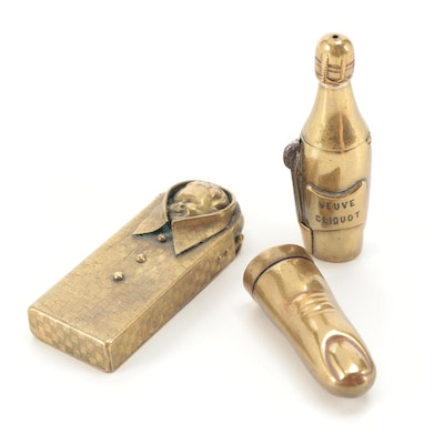 Brass Collar Stay Holder with Brass Veuve Cliquot and Finger Shaped Vestas