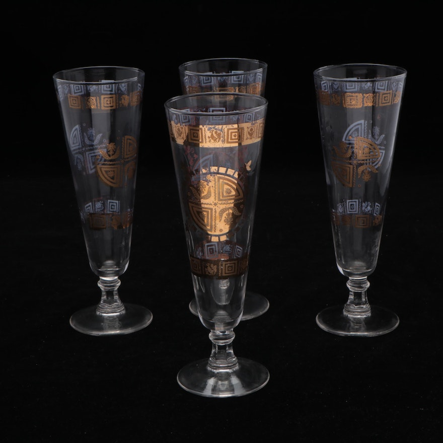 Mid Century Modern Pilsner Glasses, Mid to Late 20th Century