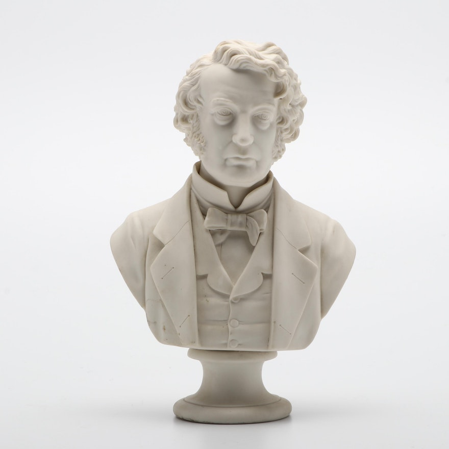 Charles Sumner Parian Bust, Late 19th Century
