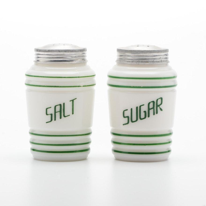 Milk Glass Salt and Sugar Shakers, Mid-20th Century