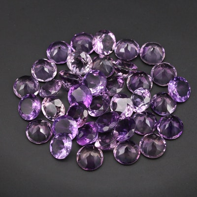 Loose 119.37 CTW Round Faceted Amethysts