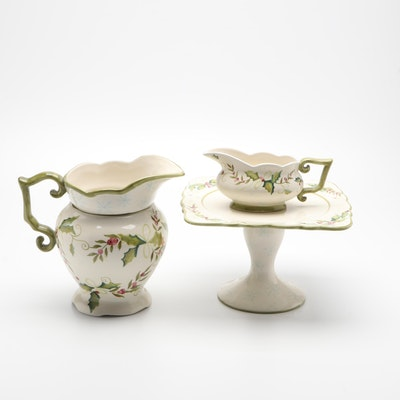 """Tracy Porter """"Sweet Tidings"""" Ceramic Cake Stand, Pitcher, and Gravy Dish"""