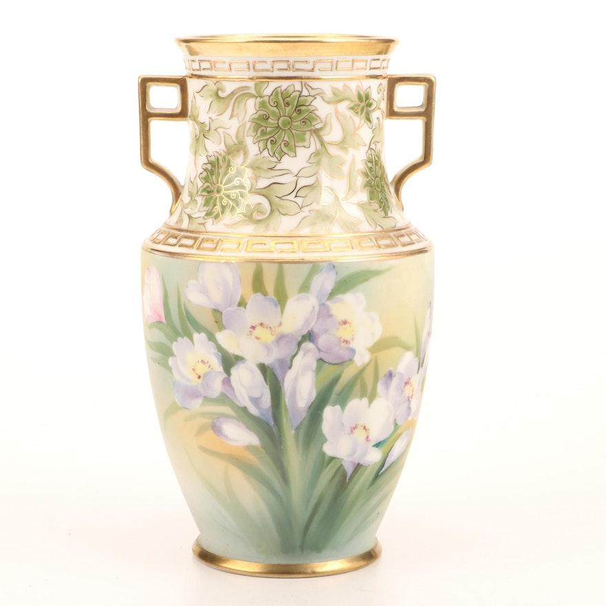 Morimura Brothers Nippon Hand-Painted Crocus and Floral Motif Porcelain Vase