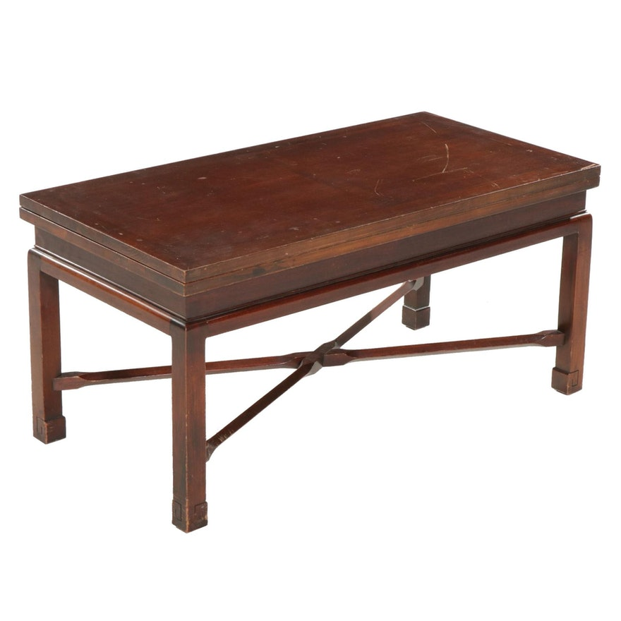 Brandt Furniture Chinese Style Mahogany Convertible Coffee Table, Mid-20th C.