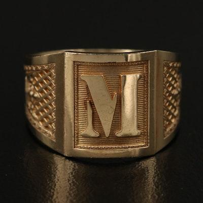 "10K ""M"" Signet Ring with Crown Detail"