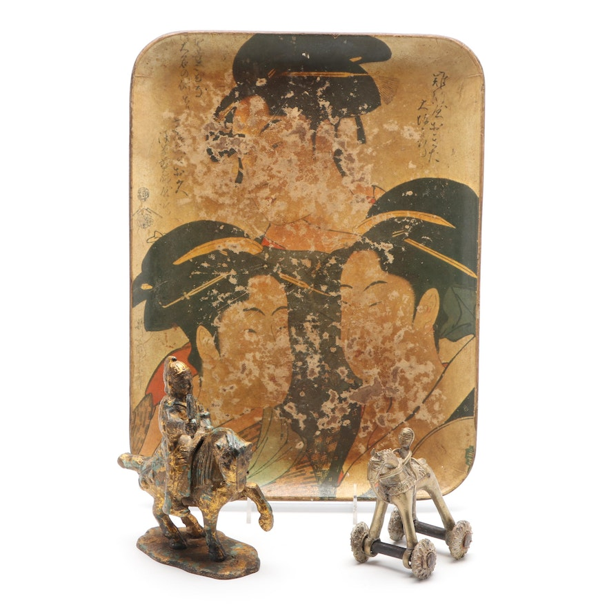 Indian and Chinese Brass Figurines and Serving Platter
