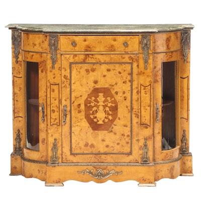 Napoleon III Style Gilt Metal, Burlwood, Marquetry, & Green Marble Pier Cabinet