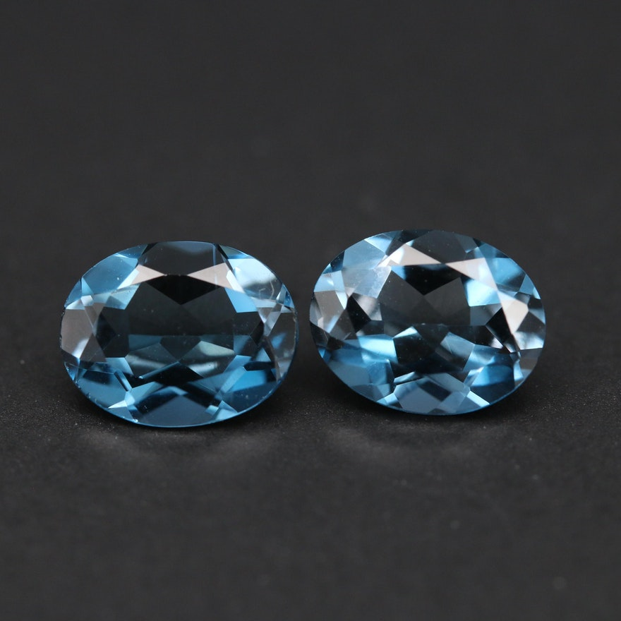 Matched Pair of Loose 4.20 CTW London Blue Oval Faceted Topaz
