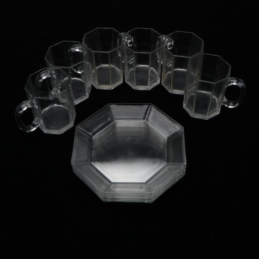 """Arcoroc """"Octime"""" Clear Glass Dinnerware, Late 20th Century"""
