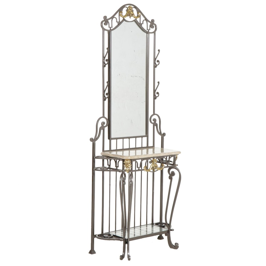 Mirrored Wrought and Gilt Metal Entry Table with Stone Surface
