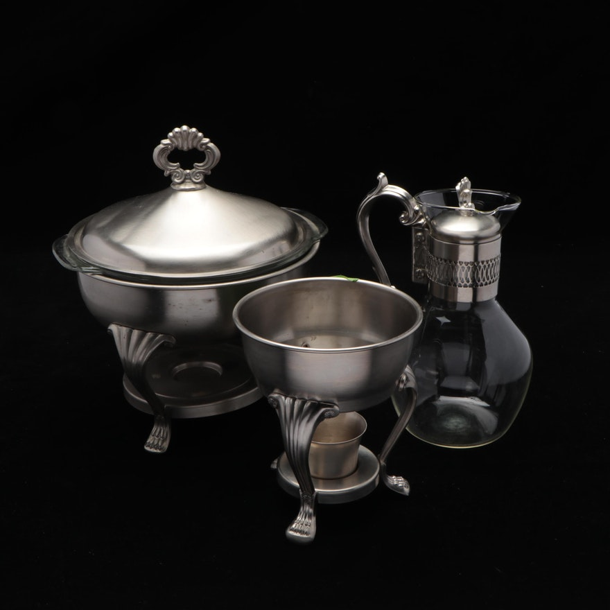 """Anchor Hocking Round Stainless Steel Chafing Dish, Rogers """"Pewterlite"""" Carafe"""