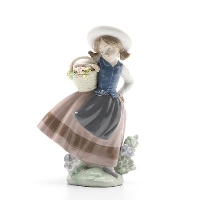 "Lladró ""Sweet Scent Girl"" Porcelain Figurine Designed by José Puche"