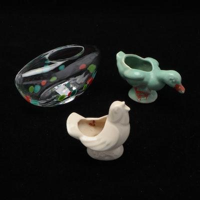 Crate & Barrel Glass Vase and Mid-20th Century Ceramic Bird Planters