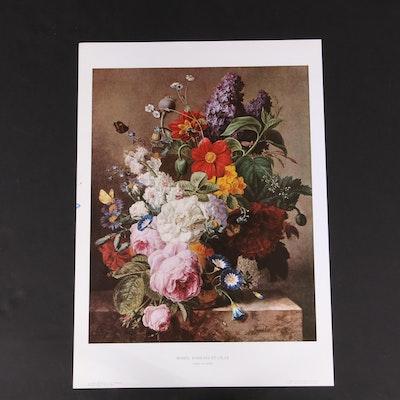 """Offset Lithograph After Moïse Jacobber """"Roses, Dahlias et Lilas"""""""