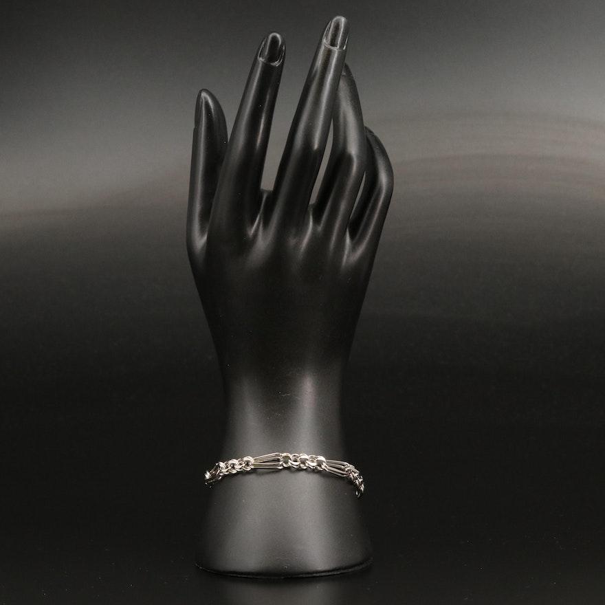 Sterling Fancy Figaro Chain Bracelet