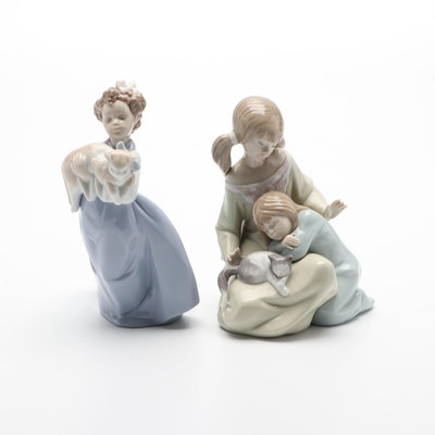 """Lladró """"Little Sister"""" and """"Girl With Cat"""" Porcelain Figurines"""