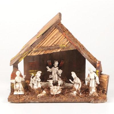 Italian Resin and Natural Materials Nativity Scene